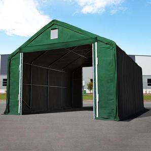 Zelthalle 6x12 m mit 4x3,35 m Tor, PVC feuersicher 720 g/m² dunkelgrün | mit Statik (Erduntergrund)