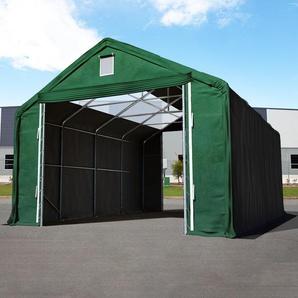 Zelthalle 6x12 m mit 4x3,35 m Tor, PVC feuersicher 720 g/m² mit Oberlichtern dunkelgrün | mit Statik (Erduntergrund)
