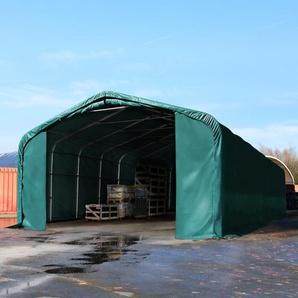 Zelthalle 6x36 m mit 4,1x2,9 m Tor, PVC 550 g/m² dunkelgrün | mit Statik (Betonuntergrund)
