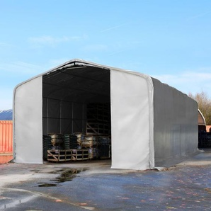 Zelthalle 8x12 m mit 4,0x4,7 m Tor, PVC 550 g/m² grau | mit Statik (Betonuntergrund)