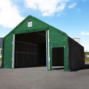 Zelthalle 8x12 m mit 4x3,4 m Tor, PVC feuersicher 720 g/m² dunkelgrün | mit Statik (Erduntergrund)