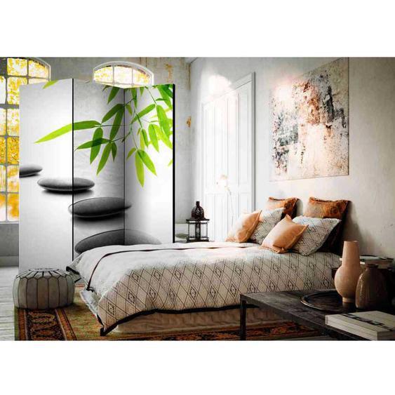Zen Motiv Paravent in Grau und Grün modern