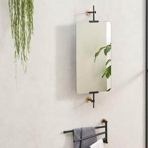 Zenia Wandspiegel (35 x 60 cm), Mattschwarz und gebuerstetes Messing