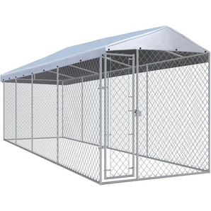 Outdoor-Hundezwinger mit Überdachung 760x190x225 cm