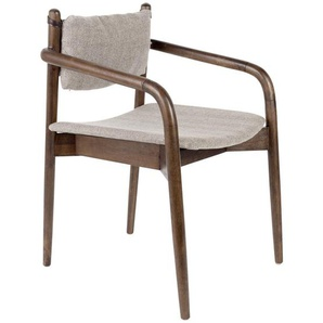 Zuiver Armlehnstuhl Kautschukholz Grau, braun , Holz, Textil , Kautschukholz,Akazie , 55x78.5x59 cm