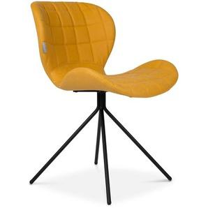 Zuiver Stuhl, Gelb, Lederoptik