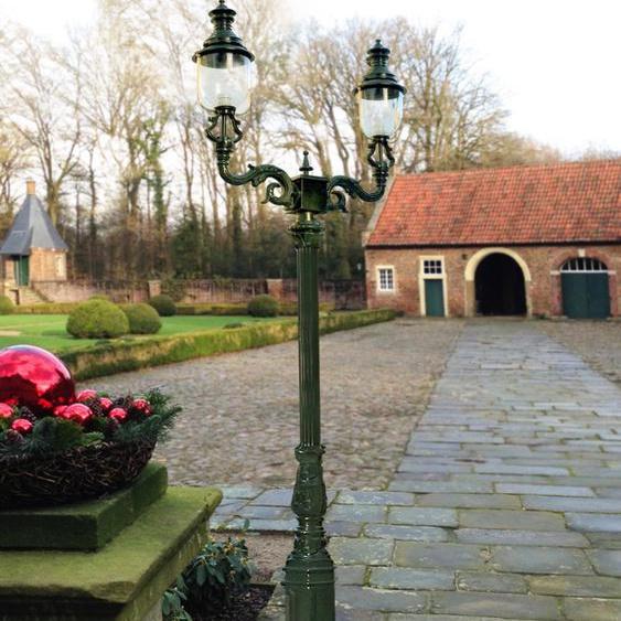 Zweiarmige Leuchte - Retro Aussenleuchten Antik Lampen für den Garten - H.288 cm
