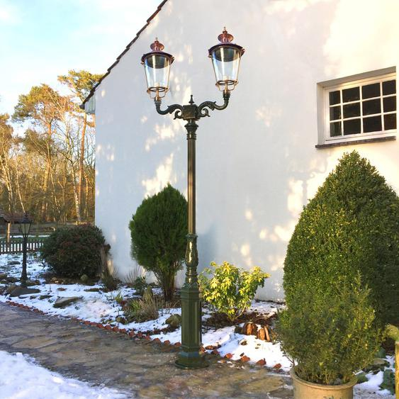 Zweiköpfige Mastlaterne - Aussenleuchte Gartenbeleuchtung Wegelampe - H.291 cm