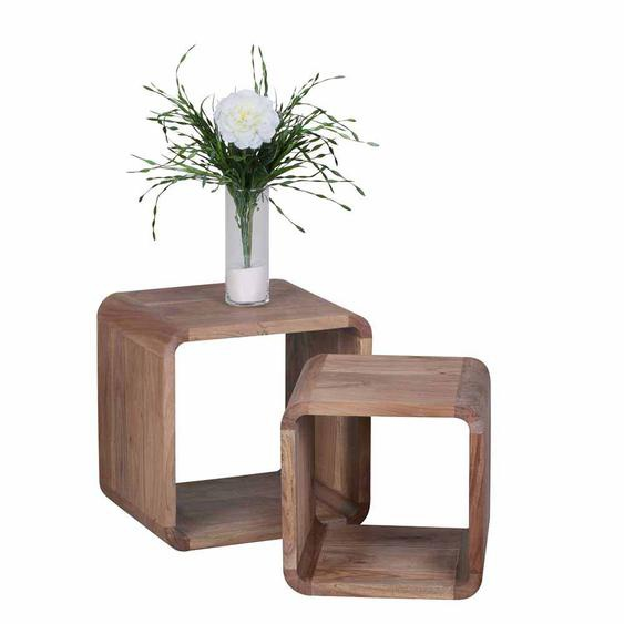 Zweisatztisch aus Akazie Massivholz abgerundet (2-teilig)