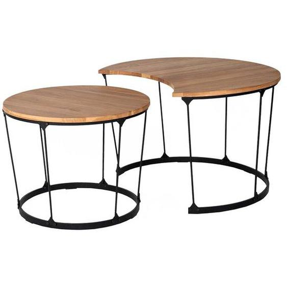 Zweisatztisch aus Wildeiche Massivholz und Stahl modern (2-teilig)