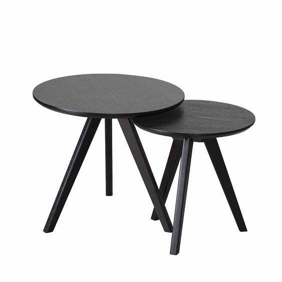 Zweisatztisch in Schwarz Esche furniert Rund (2-teilig)