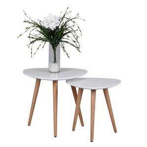 Zweisatztisch in Weiß dreieckig Buche Massivholz (2-teilig)